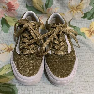 Vans Old Skool Lace-Up Gold Glitter Sneakers